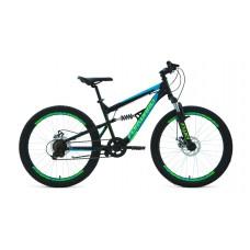 """Велосипед 24"""" FORWARD RAPTOR 2.0 (DISK) (6-ск.) 2020-2021 (рама 15) черный/бирюзовый"""